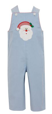 Claire & Charlie Baby Boys Blue Corduroy Santa Face Longall - Reverses to Red Check