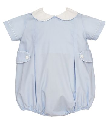 Claire & Charlie Baby Boys Blue Poplin Bubble with Tabs
