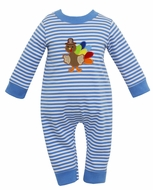 Claire & Charlie Baby Boys Blue Stripe Knit Romper - Thanksgiving Turkey