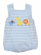 Claire & Charlie Baby Boys Blue Stripe Knit Safari Animals Bubble