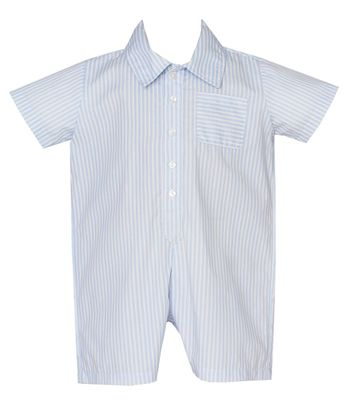 Claire & Charlie Baby Boys Blue Striped Romper - Collar & Pocket