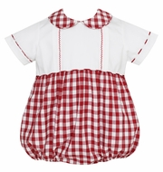 Claire & Charlie Baby Boys Burgundy Check Bubble with Collar