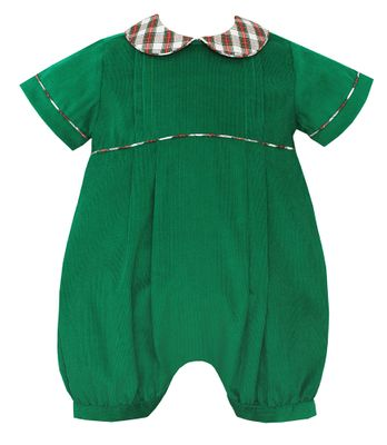 Claire & Charlie Baby Boys Green Corduroy Bubble with Holiday Plaid Collar