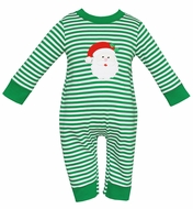 Claire & Charlie Baby Boys Green Stripe Knit Santa Claus Romper