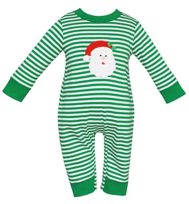 8001a909cd93 Claire   Charlie Baby Boys Green Stripe Knit Santa Claus Romper