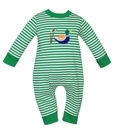 Claire & Charlie Baby Boys Green Striped Mallard Duck Romper