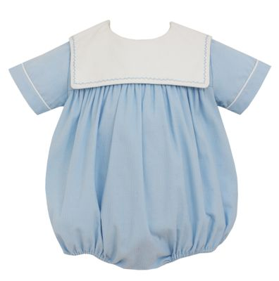 Claire & Charlie Baby Boys Light Blue Corduroy Sailor Collar Bubble