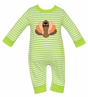 Claire & Charlie Baby Boys Lime Green Striped Knit Romper - Thanksgiving Turkey