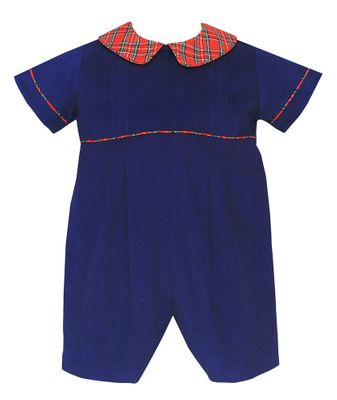 Claire & Charlie Baby Boys Navy Blue Corduroy Short Romper with Red Plaid Trim