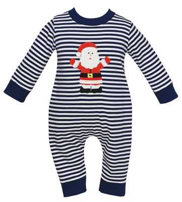 Claire & Charlie Baby Boys Navy Blue Stripe Santa Claus Romper