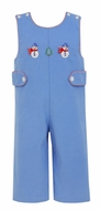Claire & Charlie Baby Boys Periwinkle Blue Corduroy Holiday Snowman Longall