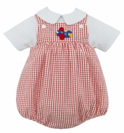 Claire & Charlie Baby Boys Red Check Crochet Airplane Bubble with Shirt