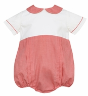 Claire & Charlie Baby Boys Red Check / Winter White Corduroy Bubble