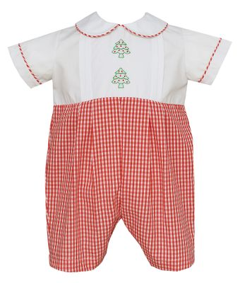 Claire & Charlie Baby Boys Red Check Embroidered Christmas Trees Romper