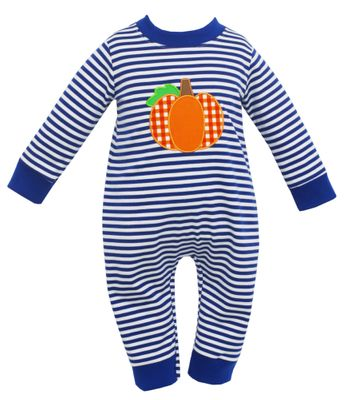 Claire & Charlie Baby Boys Royal Blue Stripe Knit Pumpkin Romper