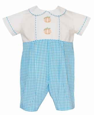 Claire & Charlie Baby Boys Turquoise Check Romper with Embroidered Orange Pumpkins