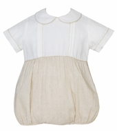 Claire & Charlie Baby Boys White / Tan Khaki Linen Bubble