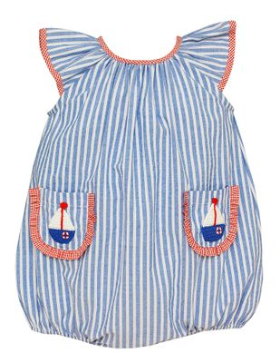 Claire & Charlie Baby Girls Blue Stripe Bubble - Sailboat Pockets