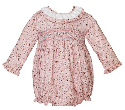 Claire & Charlie Baby Girls Pink Liberty Print Smocked Bubble
