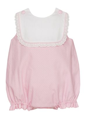Claire & Charlie Baby Girls Pink / White Dots Bubble - Swiss Eyelet Trim