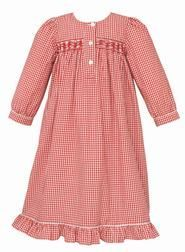 Claire & Charlie Baby Girls Red Gingham Smocked Christmas Day Gown