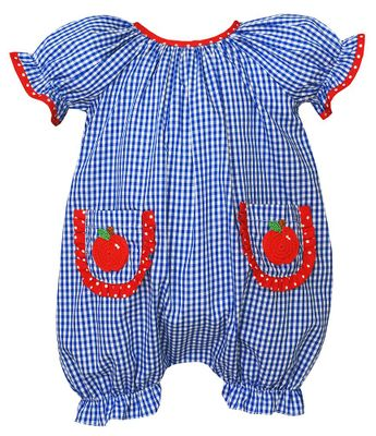 Claire & Charlie Baby Girls Royal Blue Check Bubble - Crochet Apple Pockets