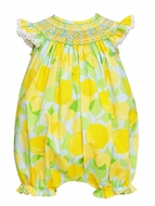 Claire & Charlie Baby Girls Yellow Lemon Print Smocked Bubble