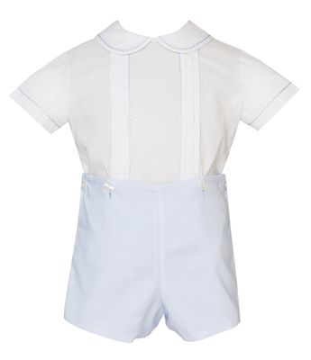 Claire & Charlie Baby / Toddler Boys Blue Batiste Button On Outfit