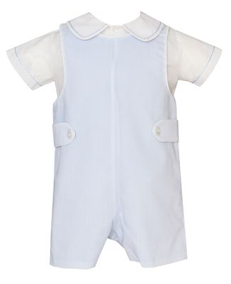 Claire & Charlie Baby / Toddler Boys Blue Batiste Shortall with Shirt