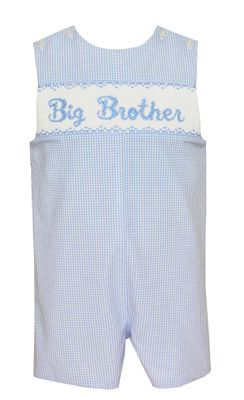 Claire & Charlie Baby / Toddler Boys Blue Check Jon Jon - Smocked Big Brother