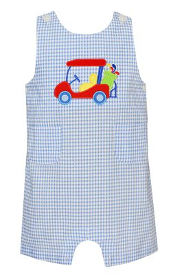 Claire & Charlie Baby / Toddler Boys Blue Gingham Seersucker Shortall - Golf Cart Applique
