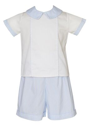 Claire & Charlie Baby / Toddler Boys Blue Striped Shorts Set
