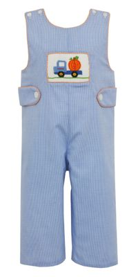 Claire & Charlie Baby / Toddler Boys Blue Check Smocked Pumpkin Truck Longall