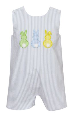 Claire & Charlie Baby / Toddler Boys Blue Stripe Seersucker Easter Bunny Peeps Shortall