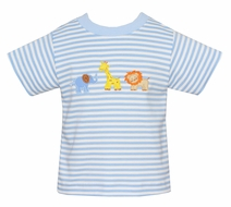 Claire & Charlie Baby / Toddler Boys Blue Stripe Safari Animals Shirt