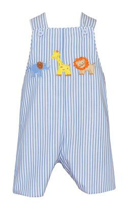 Claire & Charlie Baby / Toddler Boys Blue Stripe Safari Animals Shortall
