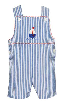 Claire & Charlie Baby / Toddler Boys Blue Stripe Sailboat Shortall