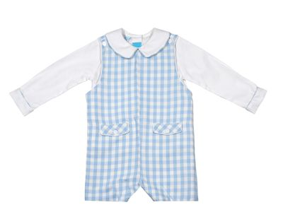 Claire & Charlie Baby / Toddler Boys Blue Check Shortall with Piped Shirt