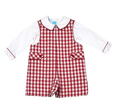 Claire & Charlie Baby / Toddler Boys Burgundy Check Shortall with Shirt