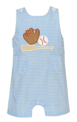 Claire & Charlie Baby / Toddler Boys French Blue Plaid Baseball Shortall