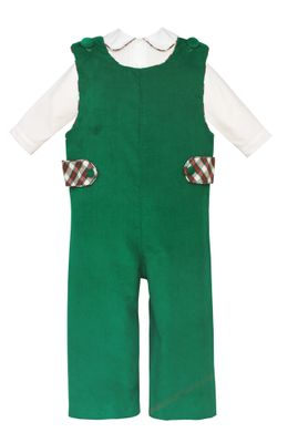 Claire & Charlie Baby / Toddler Boys Green Corduroy Longall with Shirt - Plaid Trim