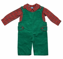 Claire & Charlie Baby / Toddler Boys Green Corduroy Longall with Red Holiday Plaid Shirt