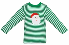 Claire & Charlie Baby / Toddler Boys Green Striped Knit Shirt - Applique Santa Claus