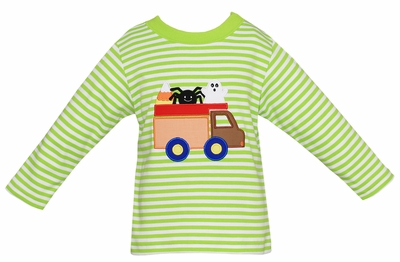 Claire & Charlie Baby / Toddler Boys Lime Green Stripe Shirt - Halloween Truck