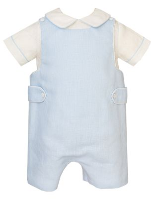 Claire & Charlie Baby / Toddler Boys Light Blue Linen Shortall with Shirt