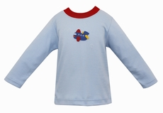 Claire & Charlie Baby / Toddler Boys Light Blue Shirt - Crochet Airplane