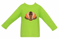 Claire & Charlie Baby / Toddler Boys Lime Green Shirt - Applique Thanksgiving Turkey