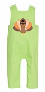 Claire & Charlie Baby / Toddler Boys Lime Green Thanksgiving Turkey Longall - Reverses to Blue Check
