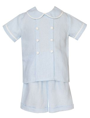 Claire & Charlie Baby / Toddler Boys Linen Shorts Set - Light Blue