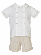 Claire & Charlie Baby / Toddler Boys Linen Shorts Set - Tan Khaki
